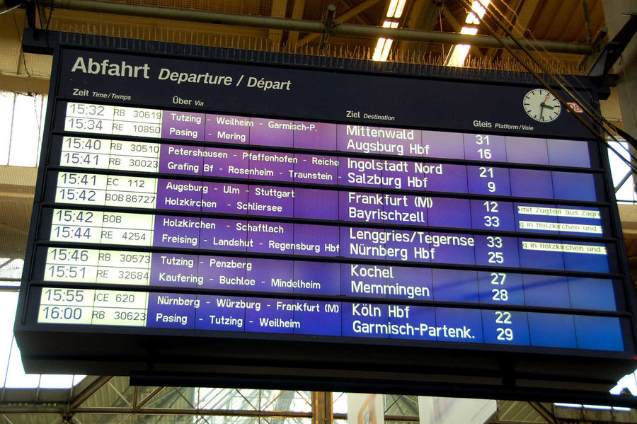 Departure board, Munich Hauptbahnhof, Germany