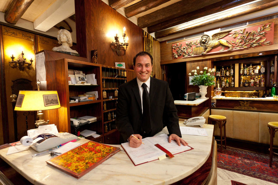 Reception desk at Hotel Serenissima, Venice, Italy
