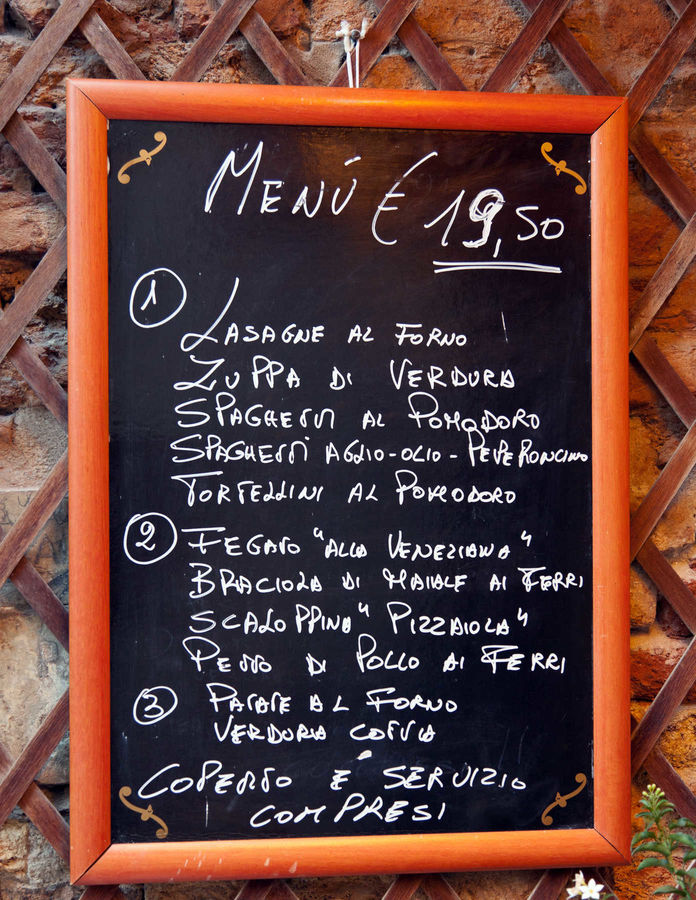 Fixed-price meal restaurant menu, Venice, Italy