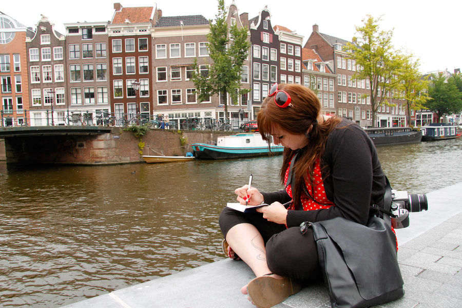 Canalside journaling break, Amsterdam, Netherlands