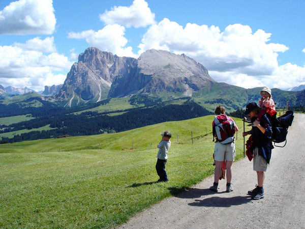 Hiking on the Alpe di Siusi / Seiser Alm, Dolomites, Italy