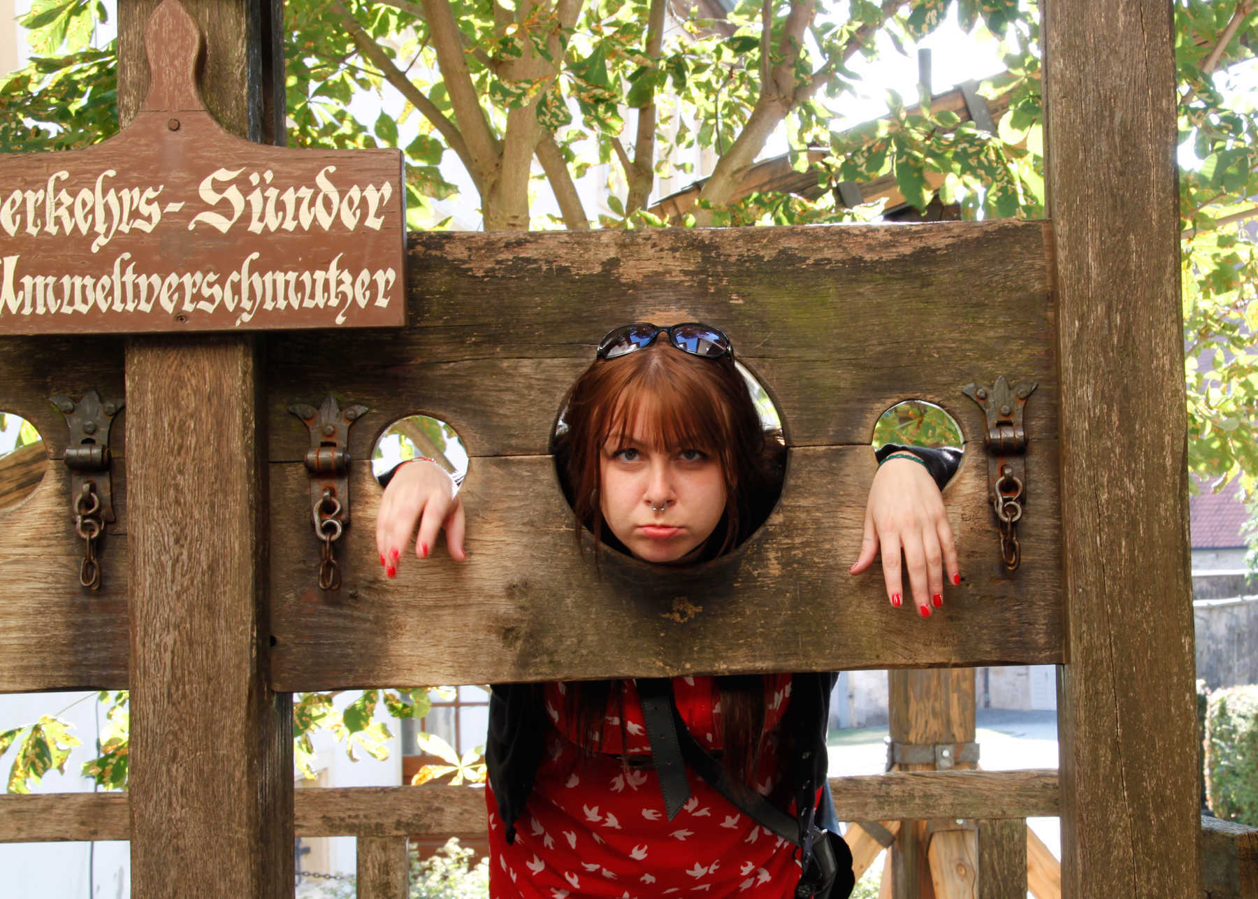 Woman in Stocks, Medieval Crime and Punishment Museum, Rothenburg ob der Tauber, Germany