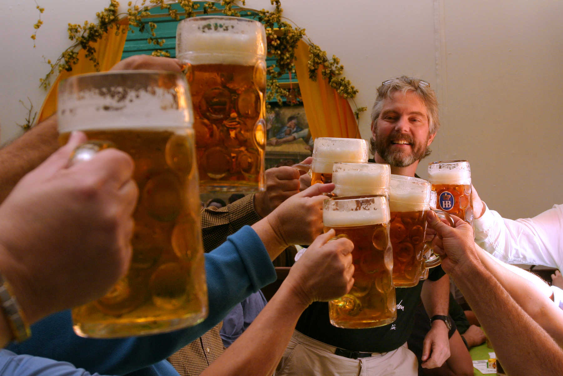 Beer Mugs Toasting, Oktoberfest, Munich, Germany