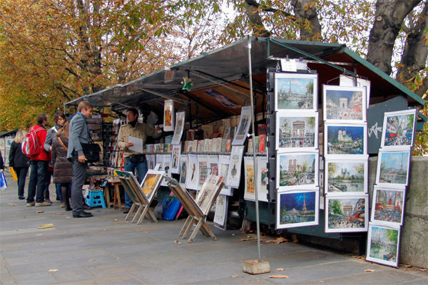 Bouquinistes along Seine River, Paris, France