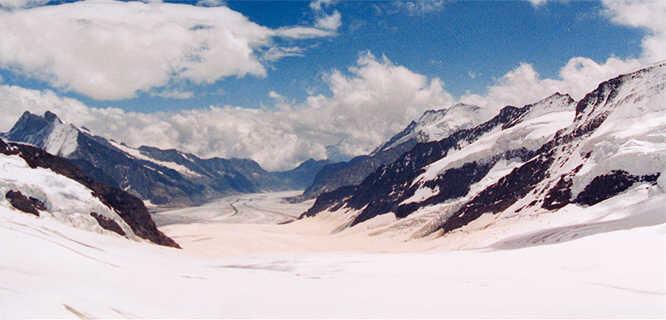 Aletsch Glacier as seen from Jungfraujoch, Berner Oberland, Switzerland