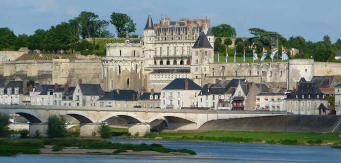 Château Royal d'Amboise and the town of Amboise, France