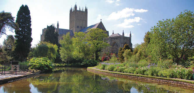 Wells Cathedral and gardens of Bishop's Palace, Wells, England