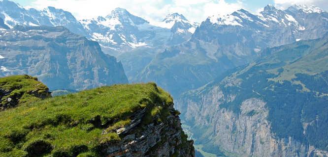 Lauterbrunnen Valley as seen from Wengen, Switzerland