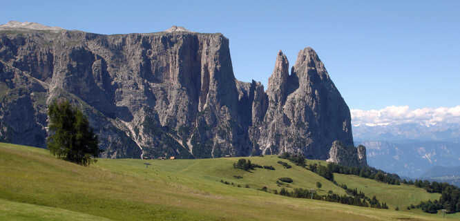 Schlern (mountain), as seen from Alpe di Siusi / Seiser Alm, Dolomites, Italy