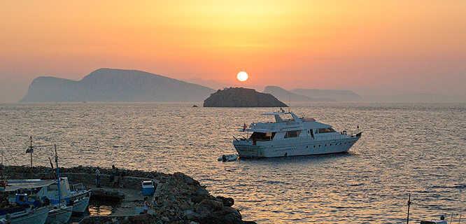 Sunset as seen from Hydra, Greece