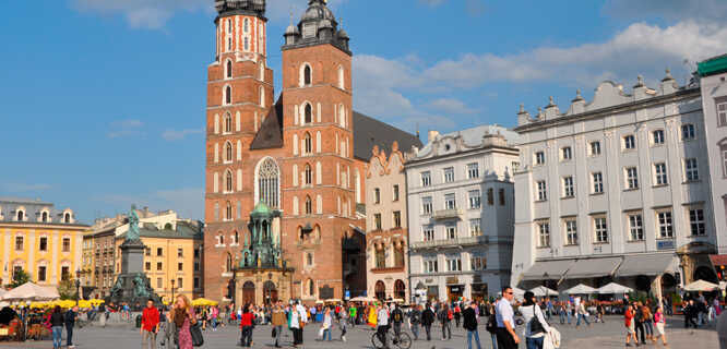 St. Mary's Church and Main Market Square, Kraków, Poland