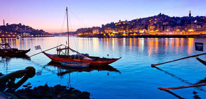 Porto's city center, as seen from Cais da Ribeira, Portugal