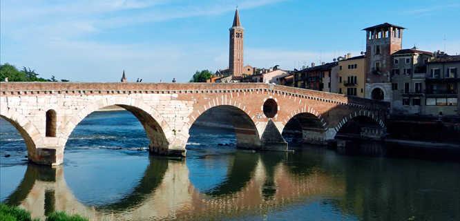 Ponte Pietra and Adige River, Verona, Italy