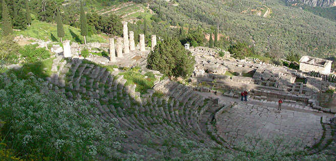 Ancient theater and Temple of Apollo, Delphi, Greece