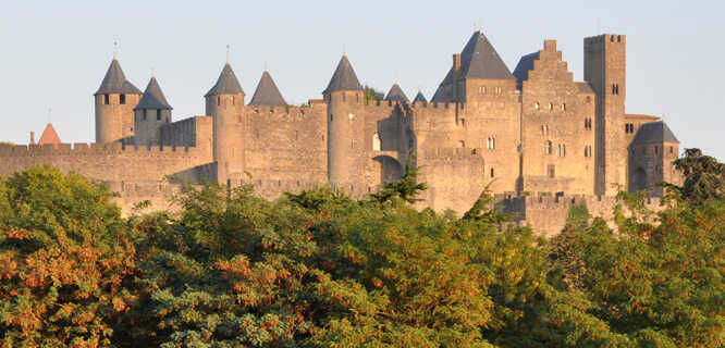 Fortified city walls, Carcassonne, France