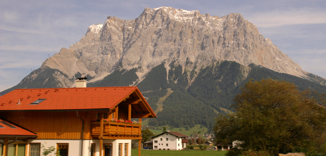 Zugspitze as seen from Ehrwald, Austria