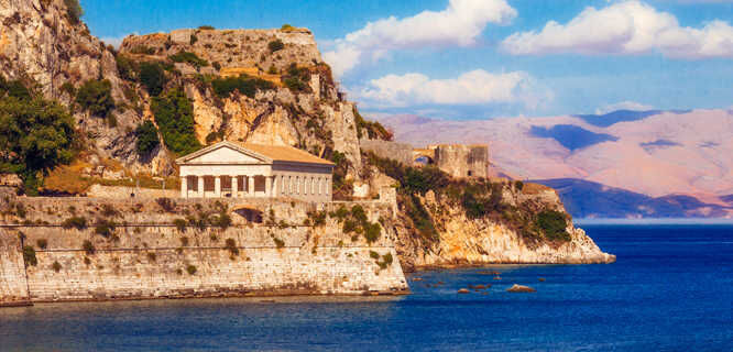 Church of St. George and Old Fortress, Corfu, Greece