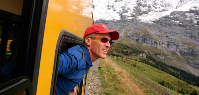 On the Jungfraujoch train near Kleine Scheidegg, Switzerland
