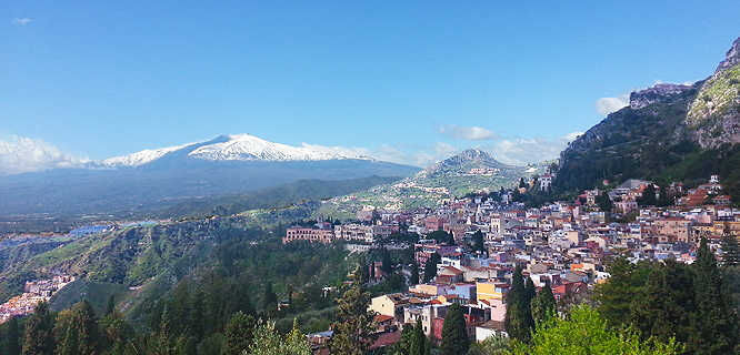 Taormina and Mt. Etna, Sicily, Italy
