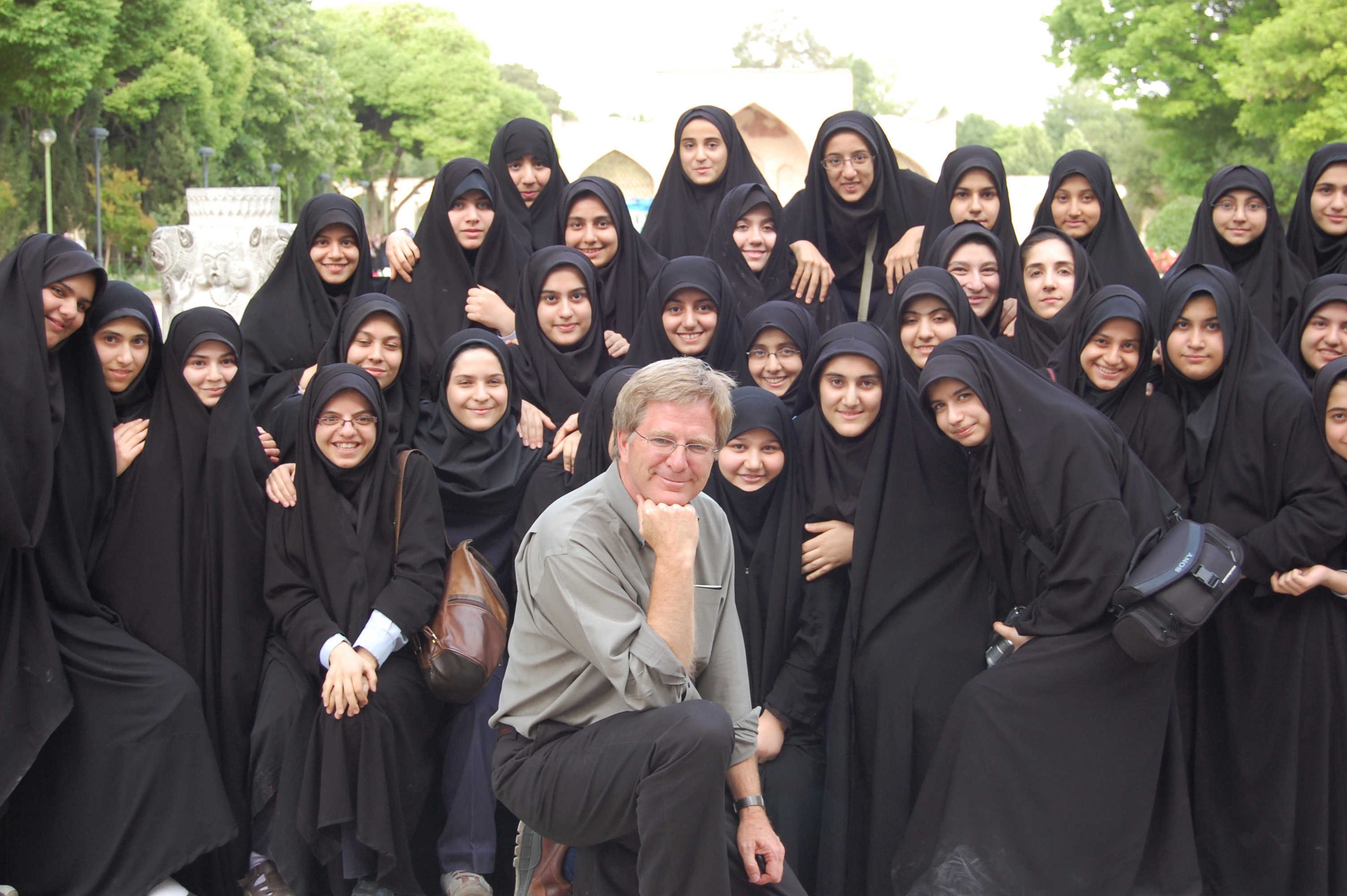 With schoolgirls in Iran