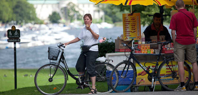 Mid-ride hot dog break in Djurgården, Stockholm, Sweden