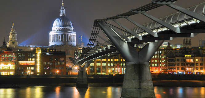 St. Paul's Cathedral and Millennium Bridge, London, England