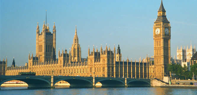 Houses of Parliament, Elizabeth Tower (Big Ben), Westminster Bridge, and Westminster Abbey, London, England