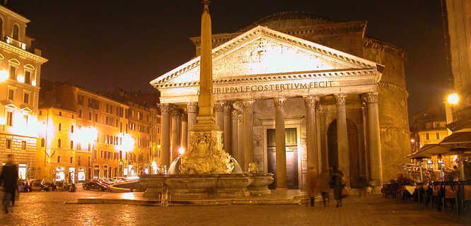 Pantheon and Piazza della Rotonda at night, Rome, Italy