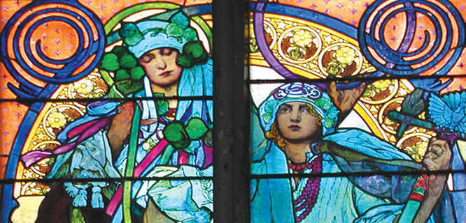Mucha's stained-glass windows in St. Vitus Cathedral, Prague, Czech Republic
