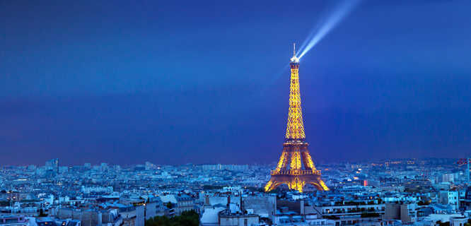 Eiffel Tower and its beacon, Paris, France
