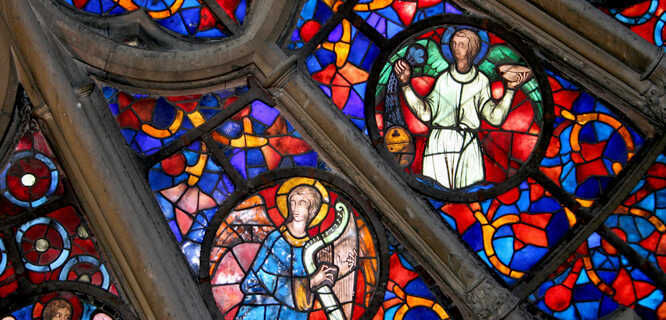 Stained glass in Reims Cathedral, Reims, France