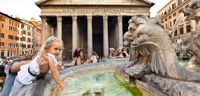 Pantheon and its fountain, Rome, Italy