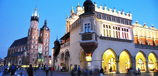 Cloth Hall and St. Mary's Church, Kraków, Poland