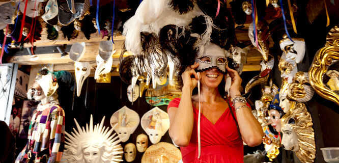 Shopping for carnival masks, Venice, Italy