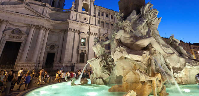Four Rivers Fountain (Bernini), Piazza Navona, Rome, Italy