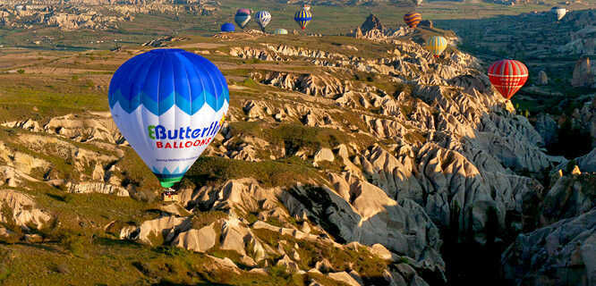 Hot-air balloons over Cappadocia, Turkey
