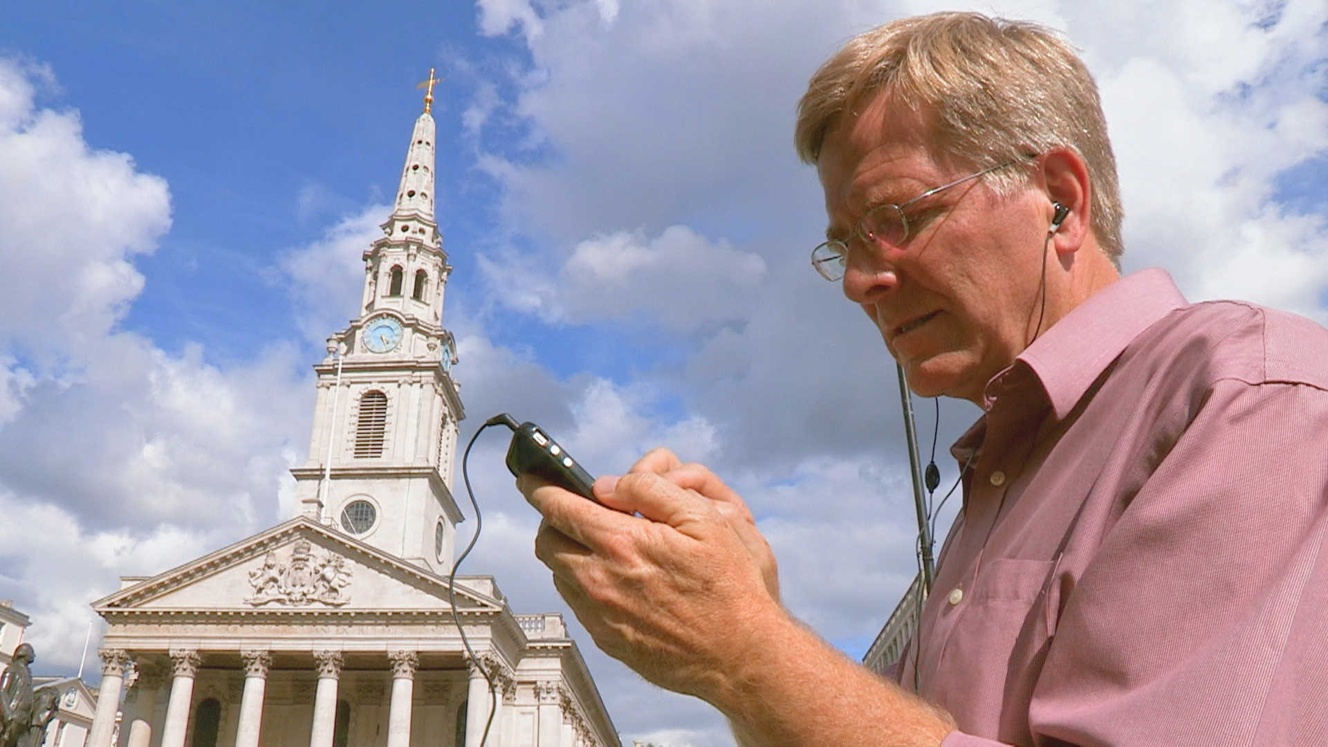 Rick Steves uses his iPhone for audio tours