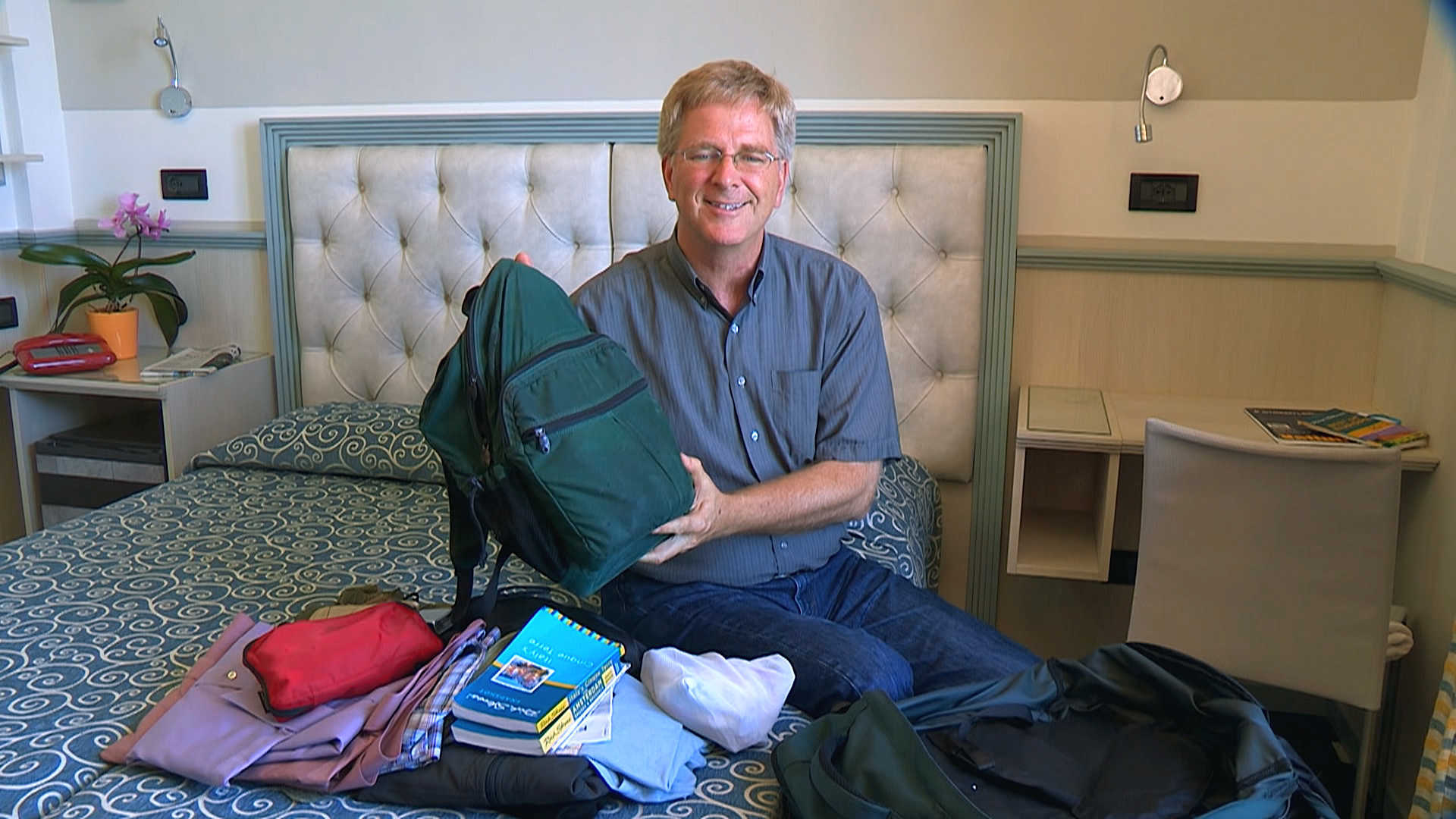 Rick Steves displays how to pack light for Europe