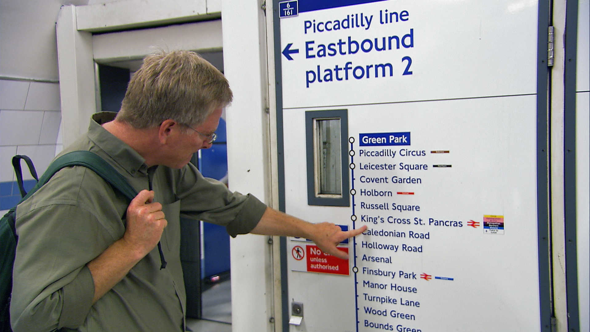 Rick Steves inspects train stops at King's Cross