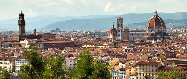 City skyline as seen from Piazzale Michelangelo, Florence Italy