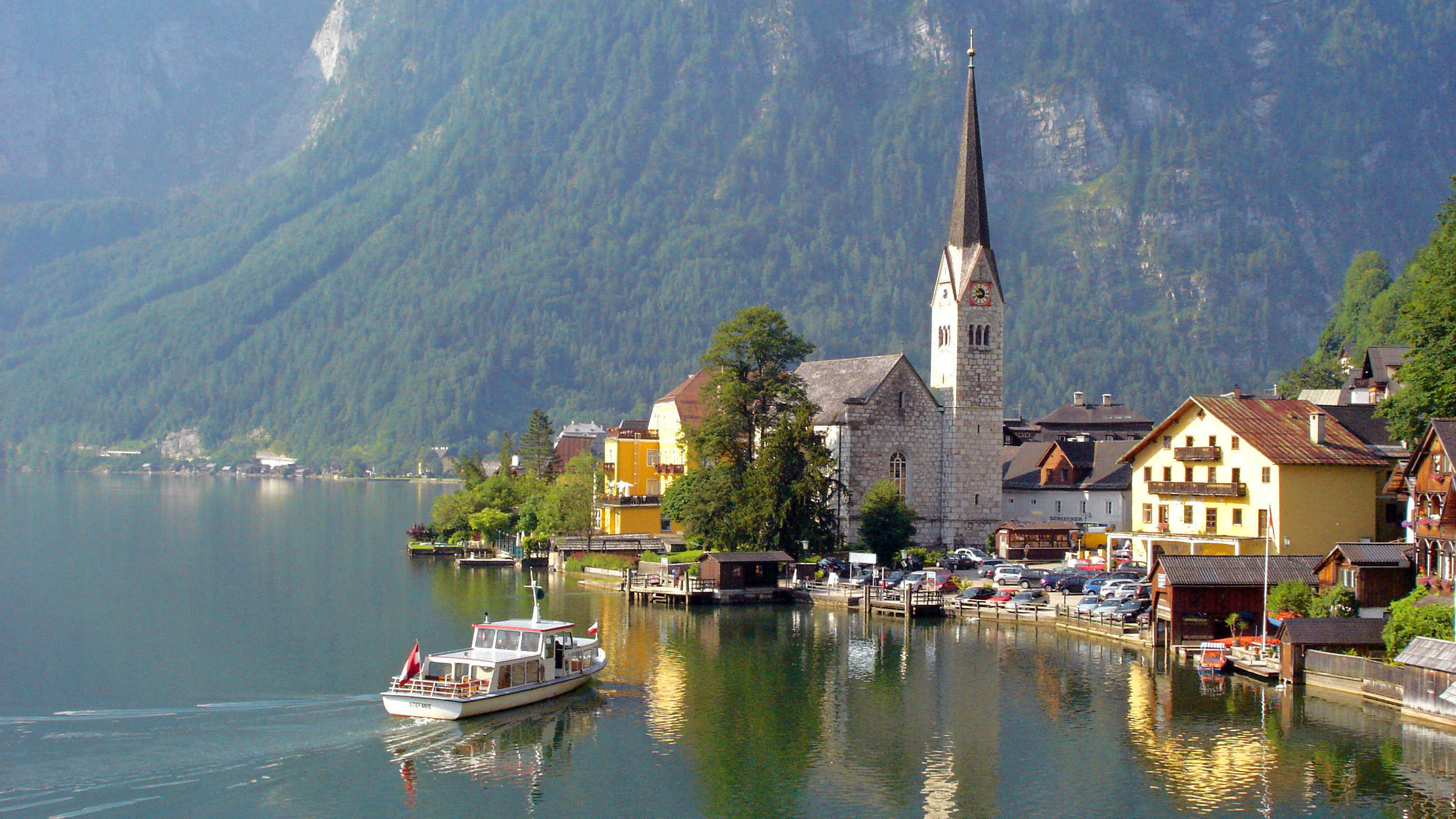 View of the lake-front of Hallstatt, Austria