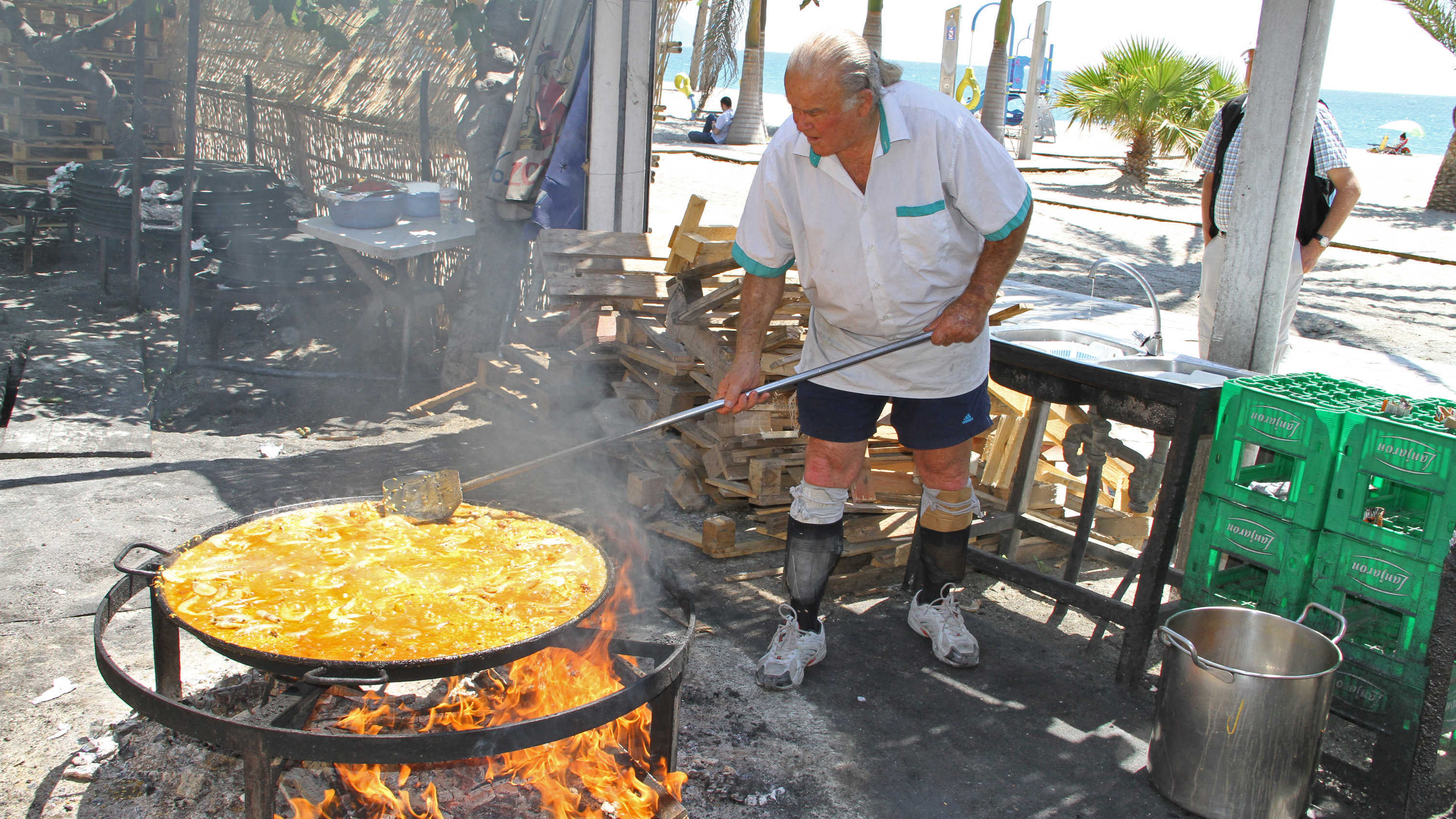 Cooking paella in Spain
