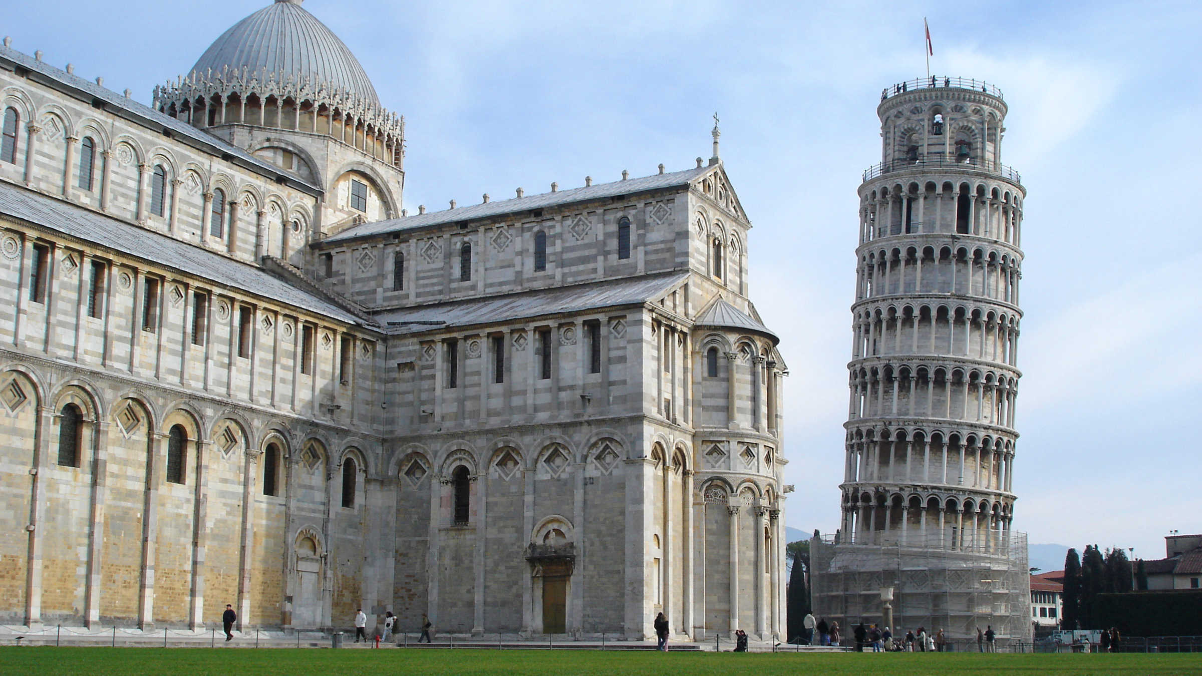 The Piazza del Duomo with the Leaning Tower in Pisa, Italy