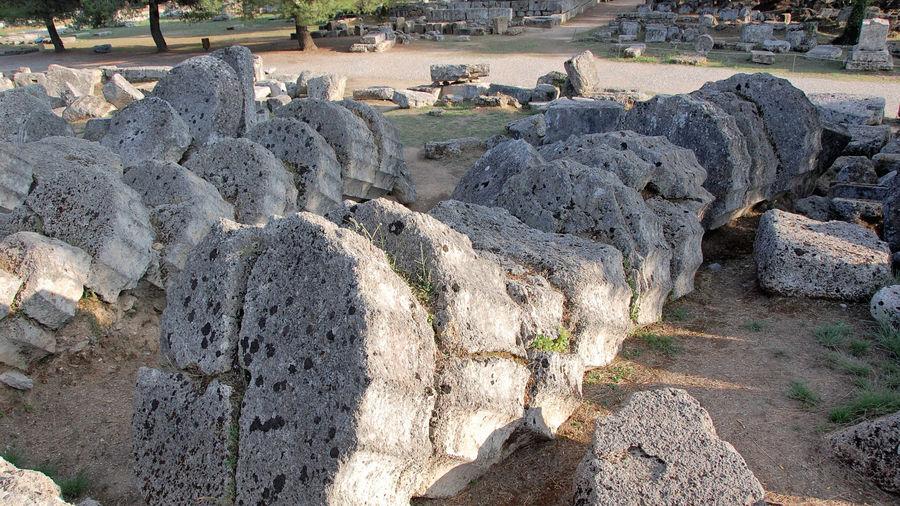 Fallen columns, Sanctuary of Olympia, Olympia, Greece