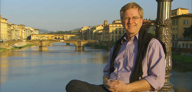 Rick Steves along the Arno River in Florence
