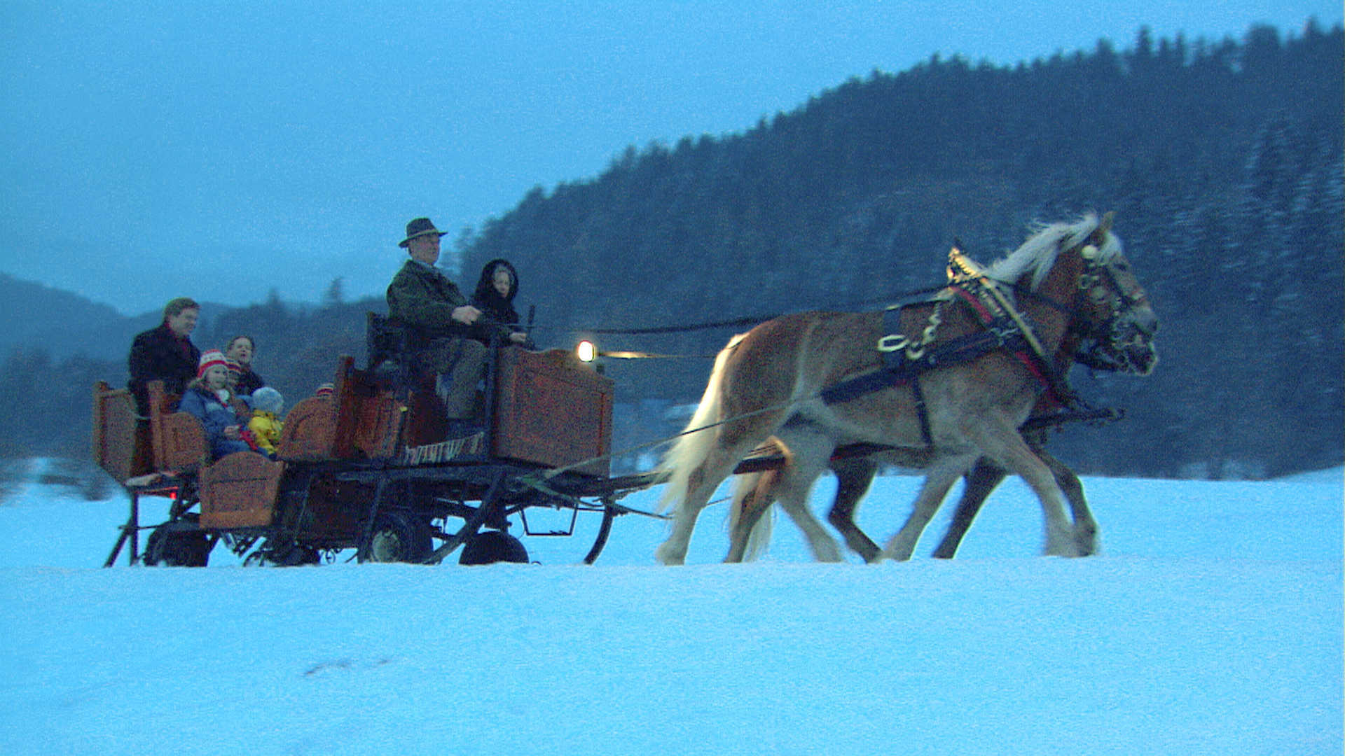 Sleighride at dusk in the Alps