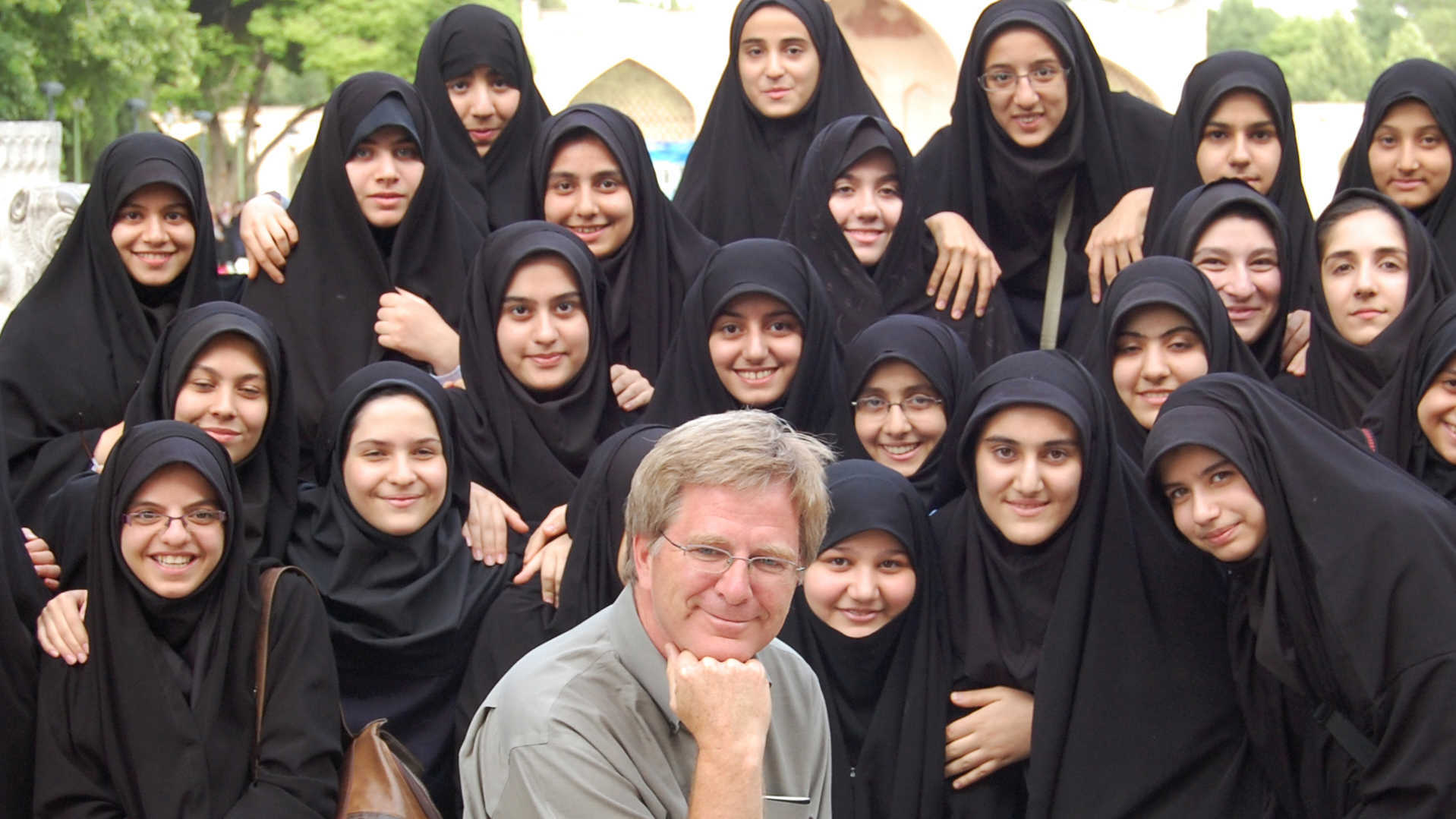 Rick with covered Iranian girls