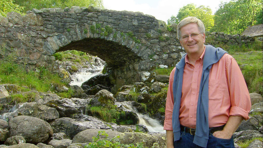 Rick at a packhorse bridge, Borrowdale, England