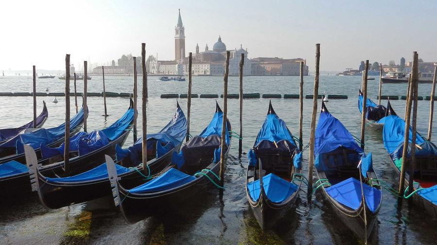 Gondolas and Church of San Giorgio Maggiore, Venice, Italy