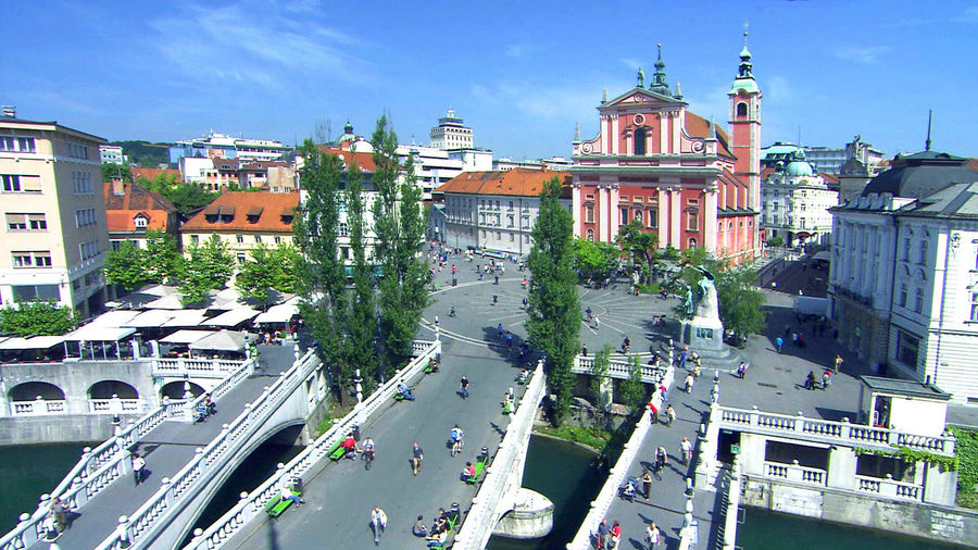 Triple Bridge and Prešeren Square, Ljubljana, Slovenia